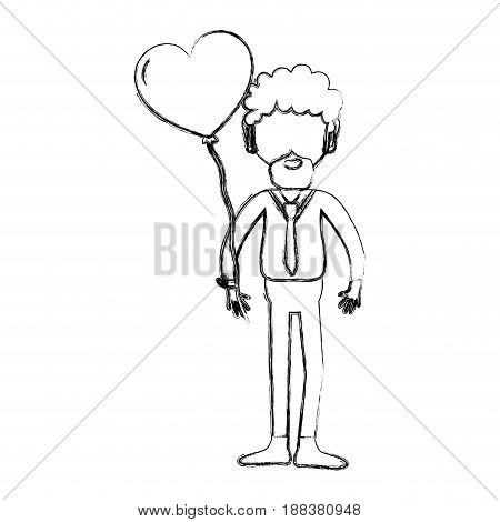 figure man with beard and heart balloon in the hand, vector illustration