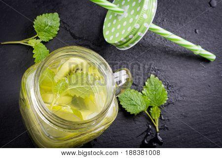 Fresh Fruits Flavored Water In Jar
