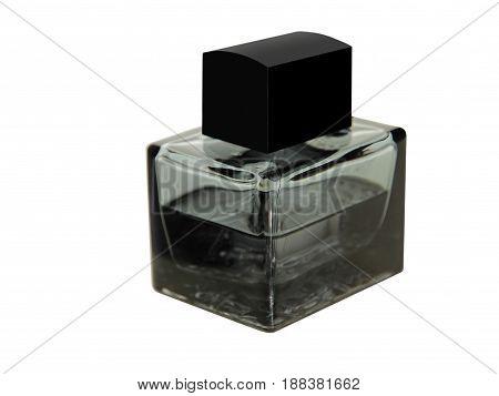 Black perfume bottle isolated on white background.