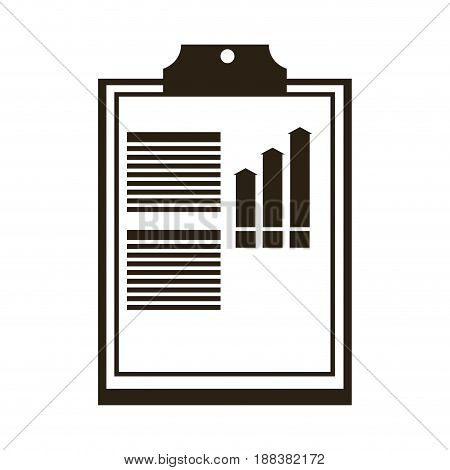 clipboard with financial infographic. chart and graphs, design vector illustration