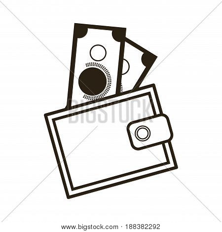 cartoon wallet with money cash image vector illustration