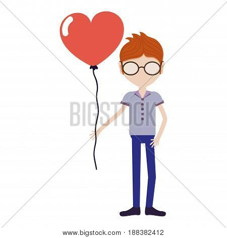 man with mustache and heart balloon in the hand, vector illustration