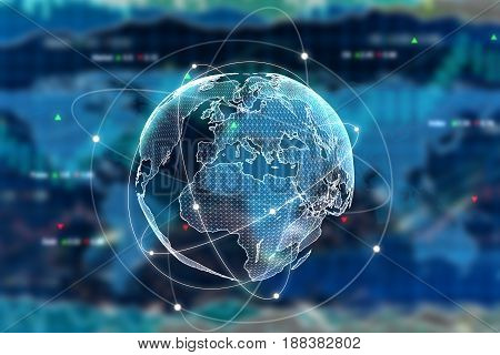 Digital globe on forex background. International business concept. 3D Rendering