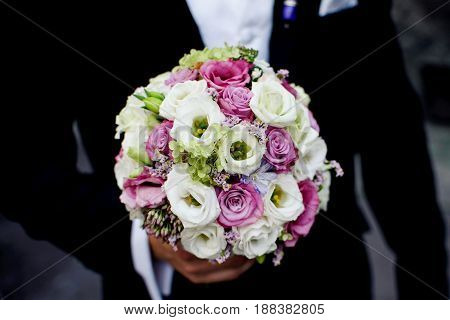 Beautiful Wedding Flowers Roses Holded By Groom