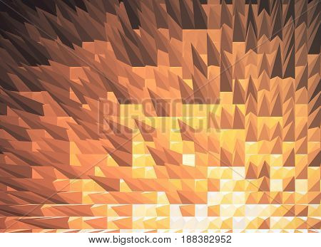 Copper spiky polygonal background. 3D Rendering, close up