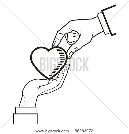 male and female hands giving heart love symbol vector illustration