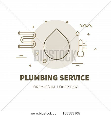 Plumbing service concept design illustration and logo of water drop