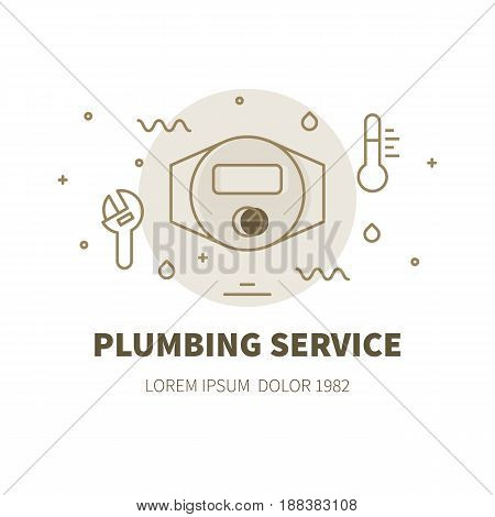 Plumbing service concept design illustration and logo of water meter