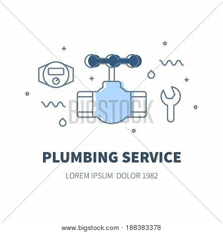 Plumbing service concept design illustration and logo of valve