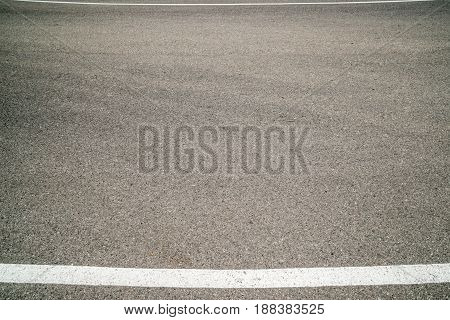 Background, The Texture Of Gray Asphalt And Two White Lines, On The Whole Frame. Horizontal Frame