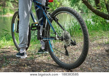 Relax On A Mountain Bike Ride Along The Forest Path. Sports And The Concept Of Active Life In The Su