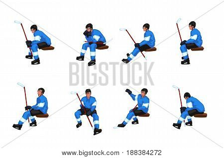 illustration of colored hockey player sitting on a bench in different poses isolated on white background