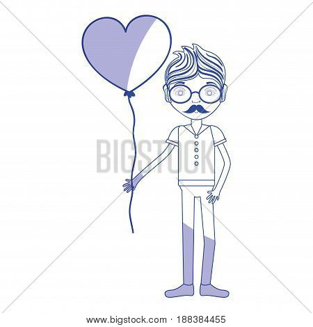 silhouette man with mustache and heart balloon in the hand, vector illustration