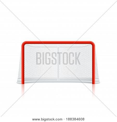 illustration of red color hockey goal isolated on white background with reflection