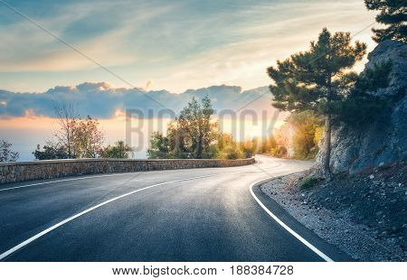 Beautiful Asphalt Road In The Evening