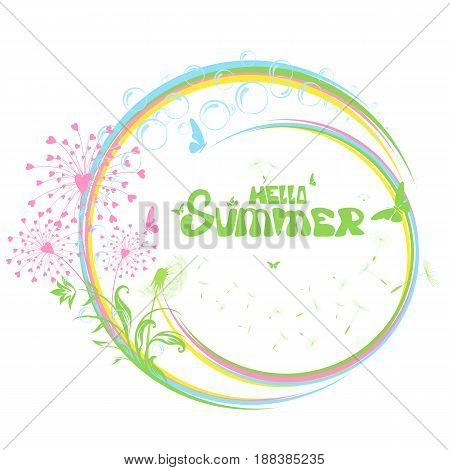 Abstract summer background with floral elements and flowers, Illustration.