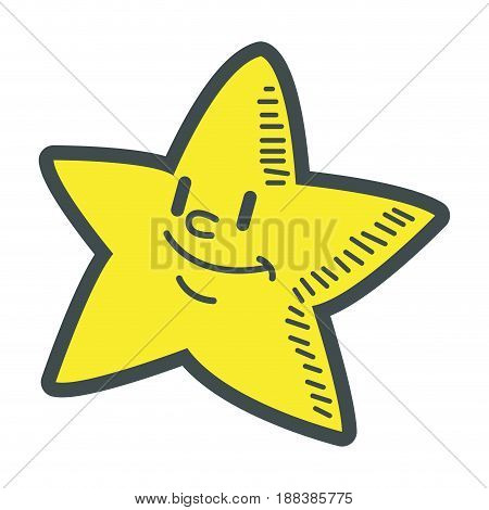 smiling little star cartoon character image vector illustration
