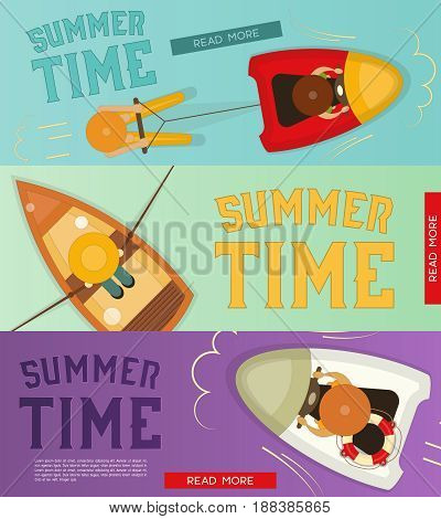 Summer Time Vacation Banners Set. Sea Vacation. Vector Illustration.