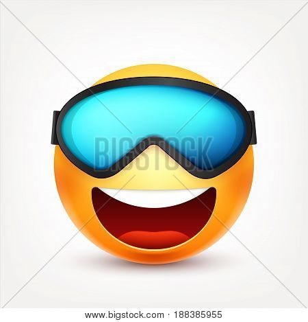 Smiley with glasses, mask, smiling emoticon. Yellow face with emotions. Facial expression. 3d realistic emoji. Funny cartoon character.Mood. Web icon. Vector illustration.
