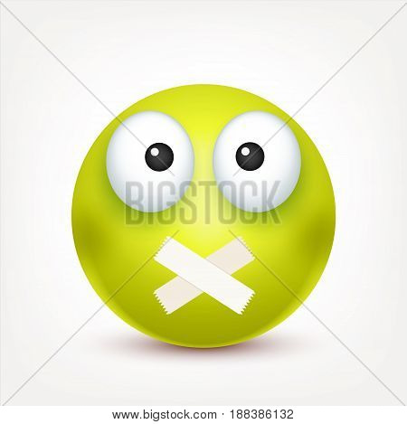 Smiley, angry, sad, emoticon. Green face with emotions. Facial expression. 3d realistic emoji. Funny cartoon character.Mood. Web icon. Vector illustration.
