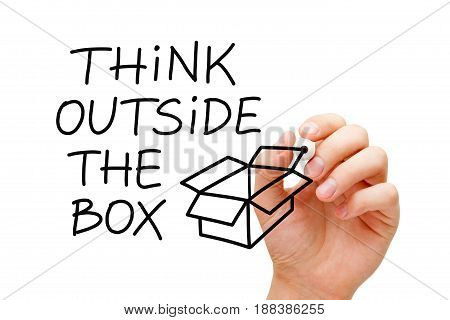 Handwriting Think Outside The Box next to an open box drawn with marker on transparent wipe board.