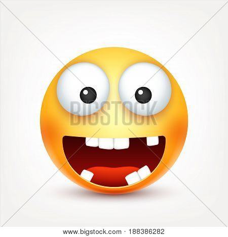 Smiley, smiling , happy emoticon with teeth. Yellow face with emotions. Facial expression. 3d realistic emoji. Funny cartoon character.Mood. Web icon. Vector illustration.