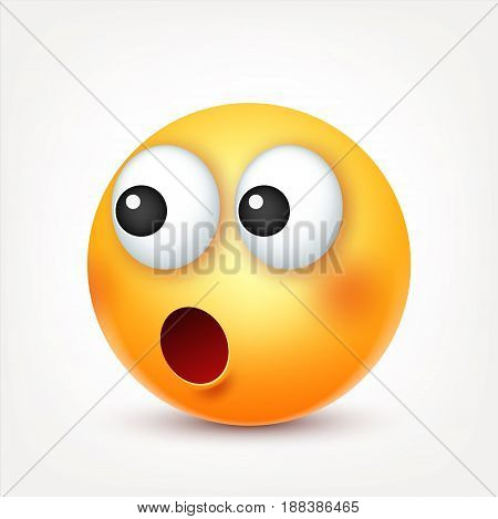 Smiley, sad emoticon. Yellow face with emotions. Facial expression. 3d realistic emoji. Funny cartoon character.Mood. Web icon. Vector illustration.