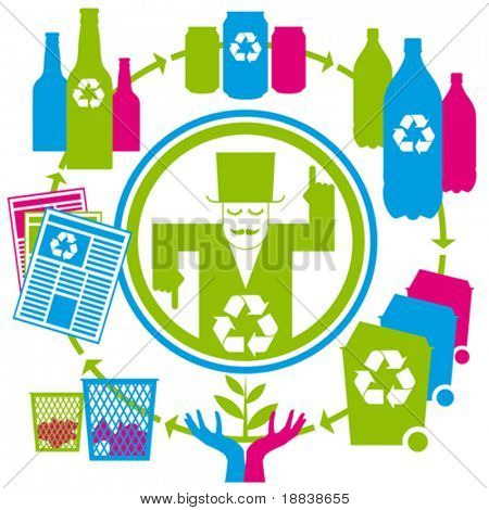 vector concept recycling with cans, tins, bottles, papers and bins