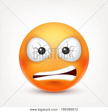 Smiley, angry, sad, devil emoticon. Redface with emotions. Facial expression. 3d realistic emoji. Funny cartoon character.Mood. Web icon. Vector illustration.