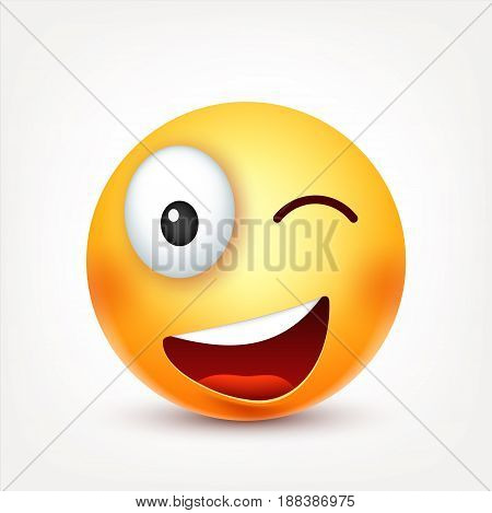 Smiley with glasses, smiling angry, sad, happy emoticon. Yellow face with emotions. Facial expression. 3d realistic emoji. Funny cartoon character.Mood. Web icon. Vector illustration.