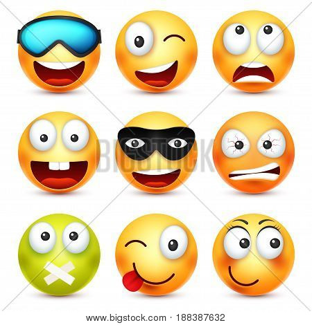 Smiley with glasses, smiling, angry, sad, happy emoticon. Yellow face with emotions. Facial expression. 3d realistic emoji. Funny cartoon character.Mood. Web icon. Vector illustration.