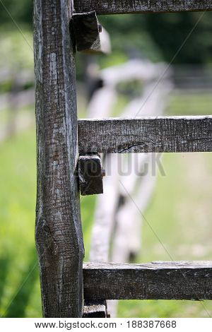 Bokeh feeling on old corral fence at ranch rural scenic summertime