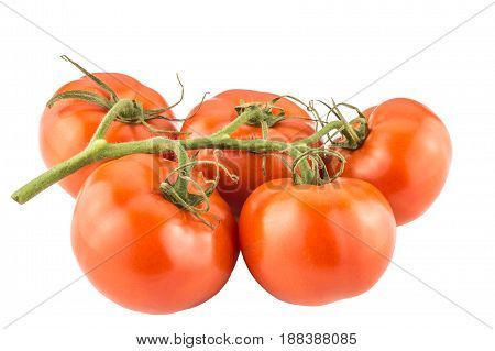 Tomatoes bunch isolated on white background close up