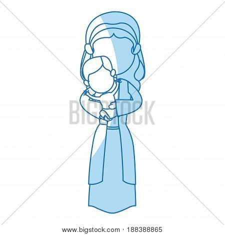 virgin mary and her holy baby religious catholicism vector illustration