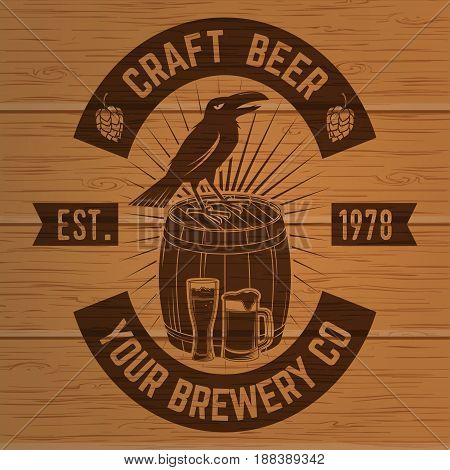 Craft Beer badge. Vector illustration. Vintage design for bar, pub and restaurant business. Coaster for beer. Photorealistic wood engraved craft beer design.