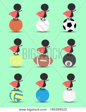 Black man character cartoon stand on sports ball and hands up overhead with wavy Hong kong flag and green background. Flat graphic. logo design. sports cartoon. sports balls vector. illustration. RGB color.