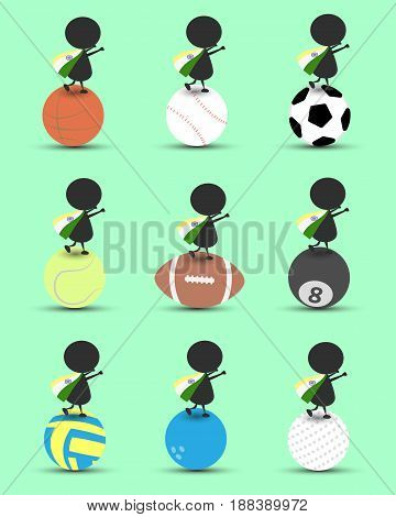 Black man character cartoon stand on sports ball and hands up overhead with wavy India flag and green background. Flat graphic.logo design.sports cartoon.sports balls vector. illustration. RGB color.
