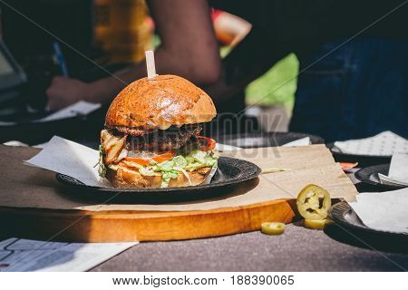 Fresh Tasty Grilled Meat Burger On The Table. Selective Focus