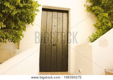 Door. Old wooden door. Puerto Banus, Marbella, Andalusia, Spain.
