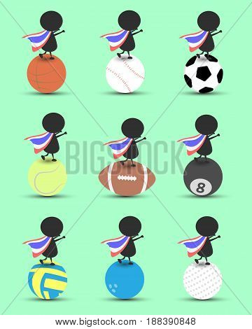 Black man character cartoon stand on sports ball and hands up overhead with wavy Thailand flag and green background. Flat graphic.logo design.sports cartoon.sports balls vector. illustration. RGB color.