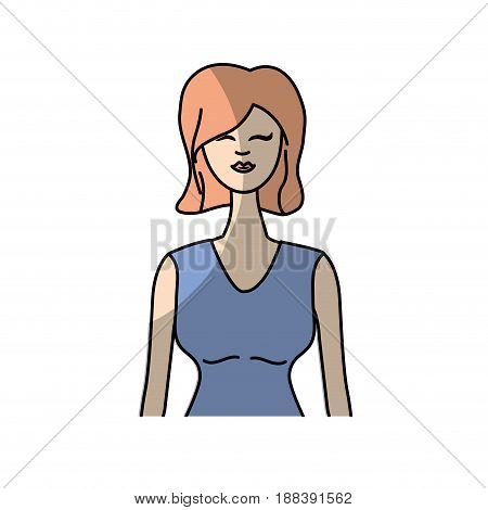 cute woman with hairstyle and elegant blouse, vector illustration