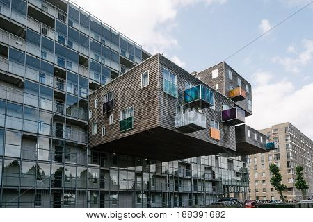 Amsterdam Netherlands - August 08 2016: WoZoCo is a project by MVRDV architects to provide 100 one-bedroom dwellings for seniors in Amsterdam. The building is known because of the extreme cantilever of some of the apartments and the variety of materials