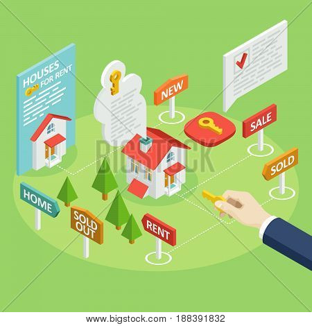 A set of vector isometric projection illustrations for advertising and announcements about the rent or sale of houses, apartments and premises. Flat e-commerce symbols for buy or sell a home