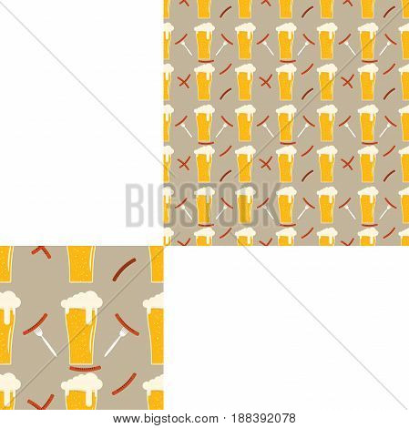 Seamless pattern blank with goblets of beer with foam fried sausages and forks with sausages on the brown background with pattern unit.