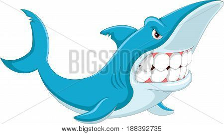 Vector illustration of angry shark cartoon isolated on white background