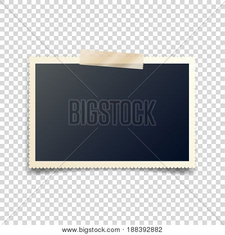 Old photo card with tape, carved sides, frame, film. Retro, vintage photograph with shadow.Digital snapshot, image.Photography art.Template or mockup for design.Ttransparent background.Vector.
