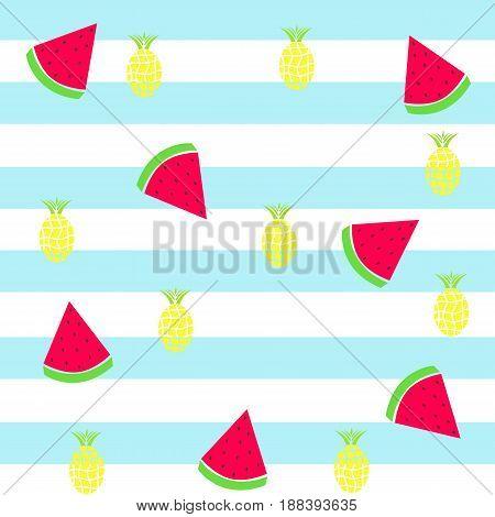 seamless tileable texture - slice watermelon and pineapple on striped blue background