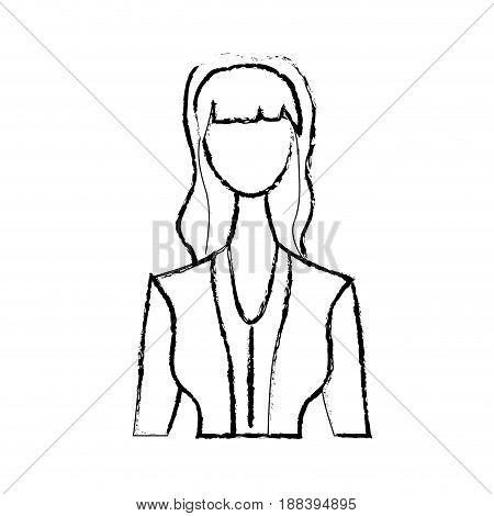 figure cute woman with hairstyle and elegant blouse, vector illustration