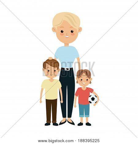blonde grandmother together grandchilds image vector illustration