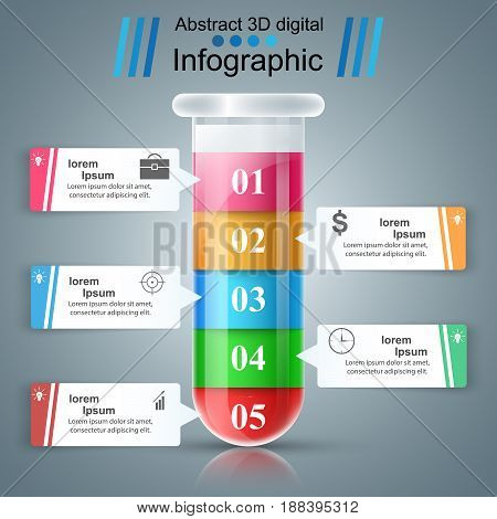 Tube color experiments. Abstract infographics Marketing icon